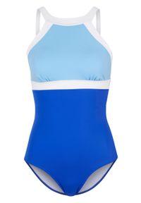 Kostium kąpielowy shape Level 1, przyjazny dla środowiska bonprix niebiesko-jasnoniebiesko-biały. Kolor: niebieski. Materiał: materiał