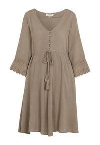 Cream Marszczona sukienka Bea beżowo-khaki female beżowy 36. Kolor: beżowy. Materiał: tkanina, wiskoza, koronka