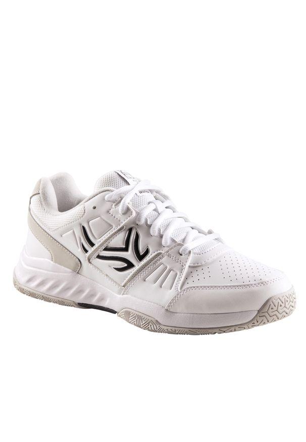 ARTENGO - Buty tenisowe TS160 męskie na każdą nawierzchnię. Kolor: biały, czarny, wielokolorowy, szary. Materiał: skóra, syntetyk, kauczuk. Szerokość cholewki: normalna. Sport: tenis