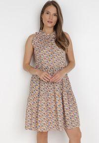 Born2be - Brązowa Sukienka Adrilise. Kolor: brązowy. Materiał: bawełna. Długość rękawa: bez rękawów. Wzór: aplikacja. Styl: wakacyjny. Długość: mini