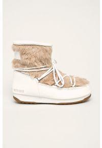 Białe śniegowce Moon Boot z okrągłym noskiem, z cholewką