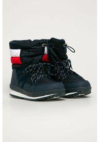 Niebieskie buty zimowe TOMMY HILFIGER na zimę, na sznurówki