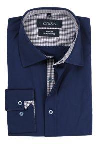 Niebieska elegancka koszula Chiao z aplikacjami, na spotkanie biznesowe, z długim rękawem