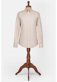 Lancerto - Koszula Beżowa Hattie. Typ kołnierza: button down. Kolor: beżowy. Materiał: bawełna, tkanina. Wzór: ze splotem. Styl: vintage