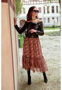 e-margeritka - Spódnica do kostek z falbaną w kwiaty - 40. Materiał: tkanina, poliester, materiał. Długość: do kostek. Wzór: kwiaty