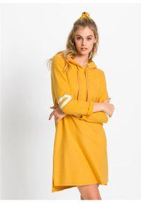 Żółta sukienka bonprix z kapturem