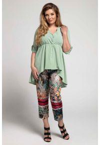 Nommo - Zielona Asymetryczna Koszulowa Tunika PLUS SIZE. Kolekcja: plus size. Kolor: zielony. Materiał: wiskoza, poliester