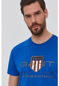 GANT - Gant - T-shirt. Okazja: na co dzień. Kolor: niebieski. Materiał: bawełna, dzianina. Wzór: nadruk. Styl: casual