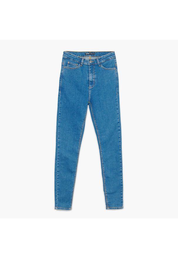Cropp - Jeansy z wysokim stanem - Niebieski. Stan: podwyższony. Kolor: niebieski