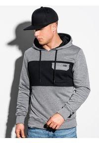 Ombre Clothing - Bluza męska z kapturem B1072 - szary melanż - XXL. Typ kołnierza: kaptur. Kolor: szary. Materiał: poliester, bawełna. Wzór: melanż