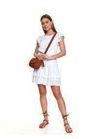 Biała sukienka TOP SECRET na lato, koszulowa, z falbankami
