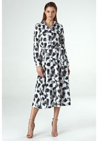 Colett - Koszulowa sukienka z wiązaniem w talii. Materiał: materiał, poliester. Długość rękawa: długi rękaw. Typ sukienki: koszulowe. Długość: midi