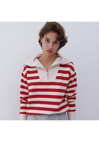 Reserved - Dzianinowa bluza - Bordowy. Kolor: czerwony. Materiał: dzianina