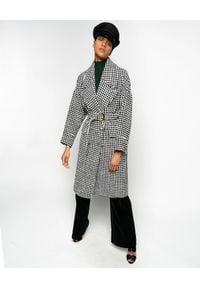 Pinko - PINKO - Płaszcz w pepitkę Alluvione. Kolor: czarny. Materiał: materiał. Sezon: zima, jesień. Styl: vintage