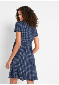 Sukienka ciążowa i do karmienia bonprix ciemnoniebiesko-biały w kropki. Kolekcja: moda ciążowa. Kolor: niebieski. Wzór: kropki