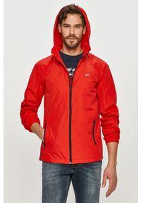 Czerwona kurtka Tommy Jeans na co dzień, z kapturem, gładkie