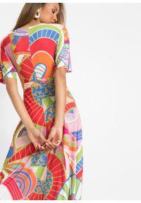 Długa sukienka bonprix czerwono-niebiesko-różowy. Kolor: czerwony. Sezon: lato. Długość: maxi