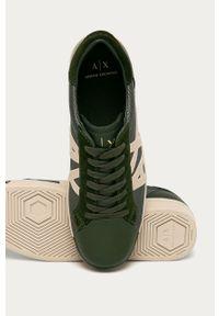Zielone sneakersy Armani Exchange na sznurówki, z cholewką