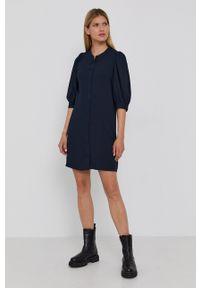 Samsoe & Samsoe - Samsoe Samsoe - Sukienka. Okazja: na co dzień. Kolor: niebieski. Materiał: tkanina, poliester. Wzór: gładki. Typ sukienki: proste. Styl: casual