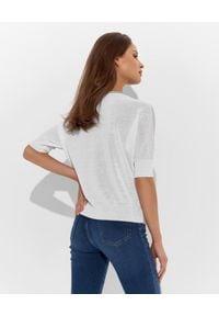 CAPPELLINI - Błękitny sweter z lnem. Kolor: niebieski. Materiał: len
