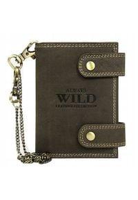 ALWAYS WILD - Portfel skórzany z łańcuchem Always Wild 2901-BIC brązowy. Kolor: brązowy. Materiał: skóra