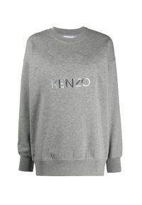 Kenzo - KENZO - Szara bluza z tygrysem. Kolor: szary. Materiał: bawełna. Długość rękawa: długi rękaw. Długość: długie. Wzór: haft, aplikacja. Styl: klasyczny, rockowy