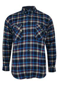 Niebieska koszula z długim rękawem, w kratkę, długa