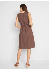 Sukienka lniana z wiązanym paskiem bonprix brązowy kasztanowy. Typ kołnierza: dekolt w serek. Kolor: brązowy. Materiał: len. Długość: midi