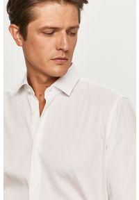 Biała koszula Strellson długa, na co dzień, klasyczna, z klasycznym kołnierzykiem