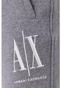 Armani Exchange - Spodnie. Kolor: szary. Materiał: dzianina. Wzór: gładki