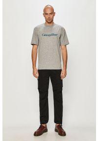 Szary t-shirt CATerpillar z nadrukiem, casualowy, na co dzień