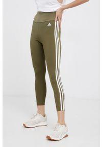 Adidas - Legginsy. Stan: podwyższony. Kolor: zielony. Materiał: materiał