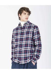PAUL & SHARK - Flanelowa koszula z nadrukiem na plecach. Typ kołnierza: kołnierzyk koszulowy. Kolor: niebieski. Materiał: bawełna. Długość rękawa: długi rękaw. Długość: długie. Wzór: nadruk