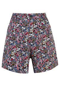 DRYWASH - Printowane szorty w kwiaty. Okazja: na co dzień. Stan: podwyższony. Kolor: niebieski. Materiał: tkanina. Długość: krótkie. Wzór: kwiaty. Sezon: lato, wiosna. Styl: casual
