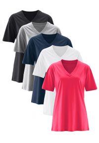 Długi shirt z dekoltem w szpic (5 sztuk), krótki rękaw bonprix różowy hibiskus + jasnoszary melanż + biały + czarny + ciemnoniebieski. Kolor: czarny. Długość rękawa: krótki rękaw. Długość: krótkie. Wzór: melanż