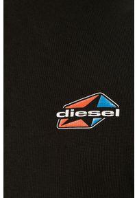 Czarna bluza nierozpinana Diesel casualowa, z aplikacjami, z kapturem, na co dzień