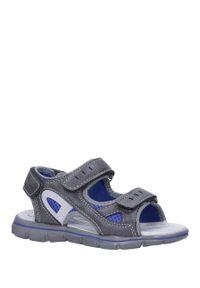 Casu - szare sandały na rzepy ze skórzaną wkładką casu n827mr. Zapięcie: rzepy. Kolor: szary. Materiał: skóra