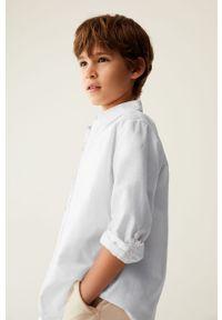 Biała koszula Mango Kids długa, gładkie, na co dzień, z klasycznym kołnierzykiem