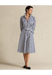 Ralph Lauren - RALPH LAUREN - Prążkowana sukienka. Typ kołnierza: polo. Kolor: biały. Materiał: prążkowany. Styl: klasyczny, elegancki