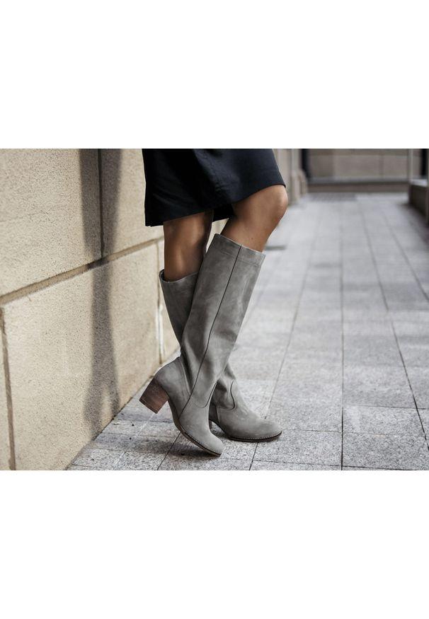 Szary kozaki Zapato wąskie, bez zapięcia, casualowy, w kolorowe wzory