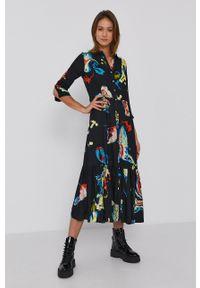 Desigual - Sukienka x Monsieur Christian Lacroix. Okazja: na co dzień. Kolor: czarny. Materiał: tkanina. Typ sukienki: proste. Styl: casual