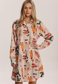 Renee - Kremowa Sukienka Funnybloom. Kolor: beżowy. Długość rękawa: długi rękaw. Typ sukienki: trapezowe. Styl: retro. Długość: mini