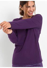 Piżama bonprix ciemny lila - kolor bzu z nadrukiem