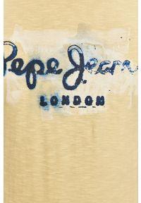 Pepe Jeans - T-shirt Golders. Kolor: żółty. Materiał: dzianina, bawełna. Wzór: nadruk #4