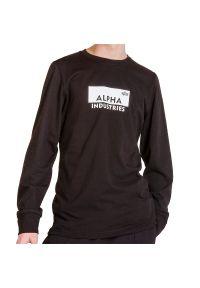 Czarna bluza Alpha Industries z kontrastowym kołnierzykiem, z długim rękawem, klasyczna