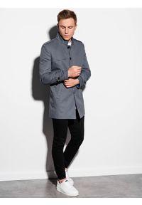Ombre Clothing - Płaszcz męski wiosenny C269 - szary - XXL. Typ kołnierza: kołnierzyk stójkowy. Kolor: szary. Materiał: bawełna, poliester. Sezon: wiosna. Styl: elegancki