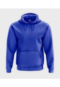 MegaKoszulki - Męska bluza z kapturem (bez nadruku, gładka) - niebieska. Typ kołnierza: kaptur. Kolor: niebieski. Wzór: gładki