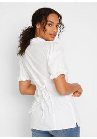 Bluzka w ludowym stylu z atrakcyjnym dekoltem bonprix biały. Kolor: biały. Materiał: bawełna