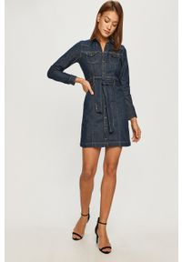 Pepe Jeans - Sukienka jeansowa Julie. Kolor: niebieski. Materiał: tkanina. Długość rękawa: długi rękaw. Wzór: gładki