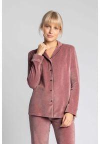 MOE - Welurowa Koszula od Piżamy - Różowa. Kolor: różowy. Materiał: welur